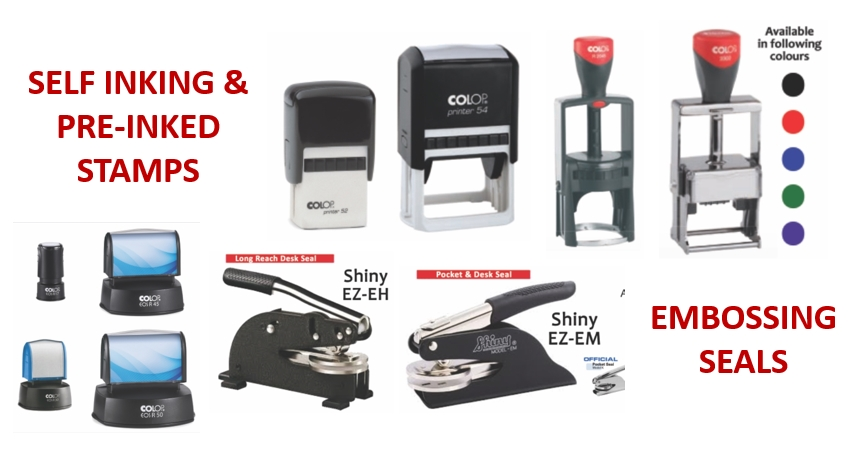 Self Inking Stamps and Embossing Seals